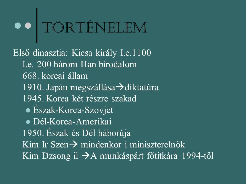 Történelem Első dinasztia: Kicsa király I.e.1100 I.e. 200 három Han birodalom 668. koreai állam 1910. Japán megszállása  diktatúra 1945. Korea két ré