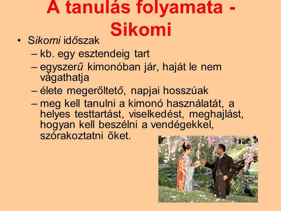 A tanulás folyamata - Sikomi Sikomi időszak –kb. egy esztendeig tart –egyszerű kimonóban jár, haját le nem vágathatja –élete megerőltető, napjai hossz