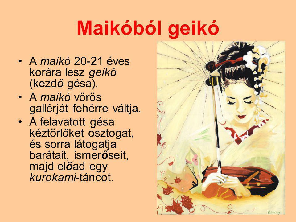 Maikóból geikó A maikó 20-21 éves korára lesz geikó (kezdő gésa). A maikó vörös gallérját fehérre váltja. A felavatott gésa kéztörlőket osztogat, és s