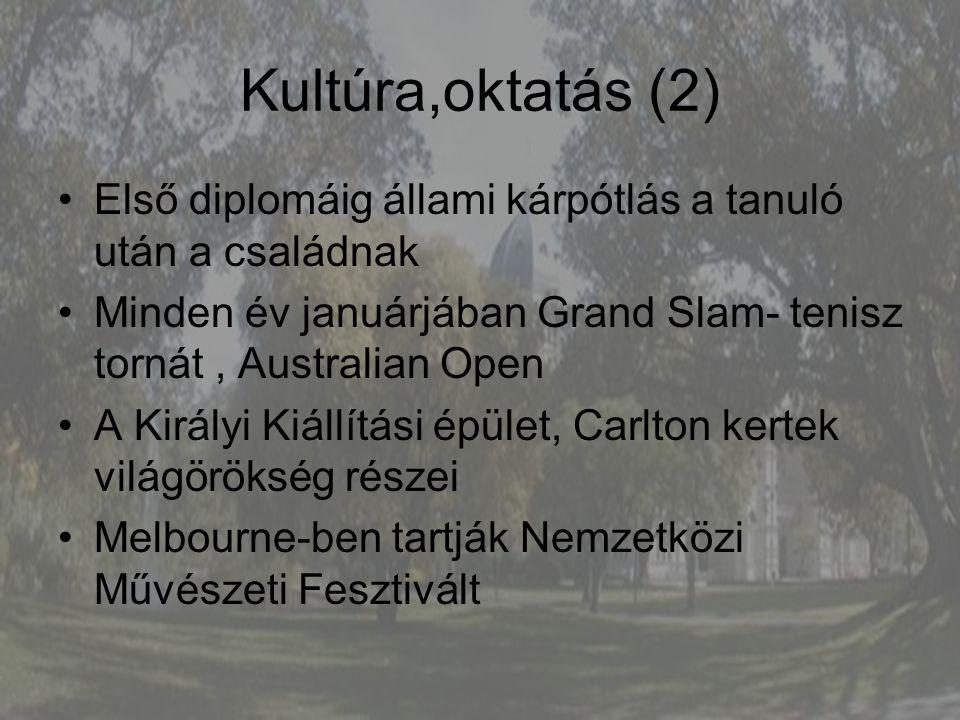 Kultúra,oktatás (2) Első diplomáig állami kárpótlás a tanuló után a családnak Minden év januárjában Grand Slam- tenisz tornát, Australian Open A Királ