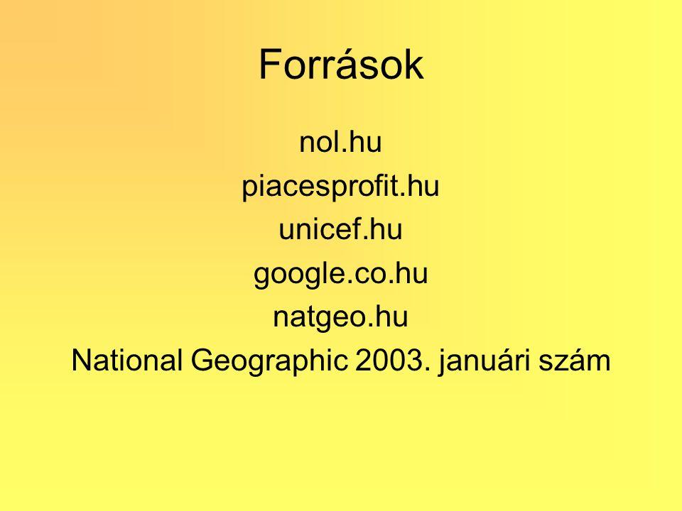 Források nol.hu piacesprofit.hu unicef.hu google.co.hu natgeo.hu National Geographic 2003. januári szám