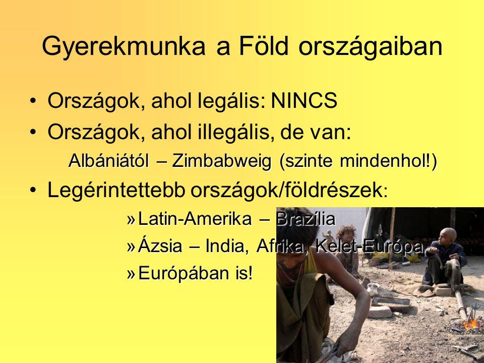 Gyerekmunka a Föld országaiban Országok, ahol legális: NINCS Országok, ahol illegális, de van: Albániától – Zimbabweig (szinte mindenhol!) Legérintett