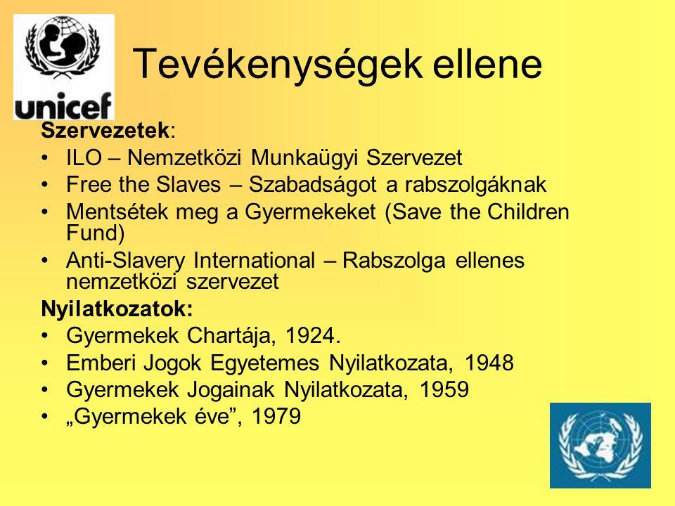 Tevékenységek ellene Szervezetek: ILO – Nemzetközi Munkaügyi Szervezet Free the Slaves – Szabadságot a rabszolgáknak Mentsétek meg a Gyermekeket (Save the Children Fund) Anti-Slavery International – Rabszolga ellenes nemzetközi szervezet Nyilatkozatok: Gyermekek Chartája, 1924.