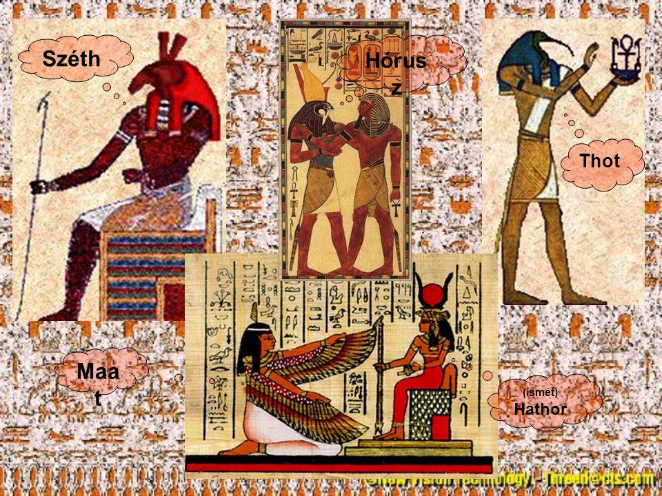 Sok állatot szentként tiszteltek Hasonló bánásmód, mint az emberekkel Sok állatmúmia maradt fenn, sírok Állat kinézetű istenek Hathortehén Anubiszsakál Basztetmacska
