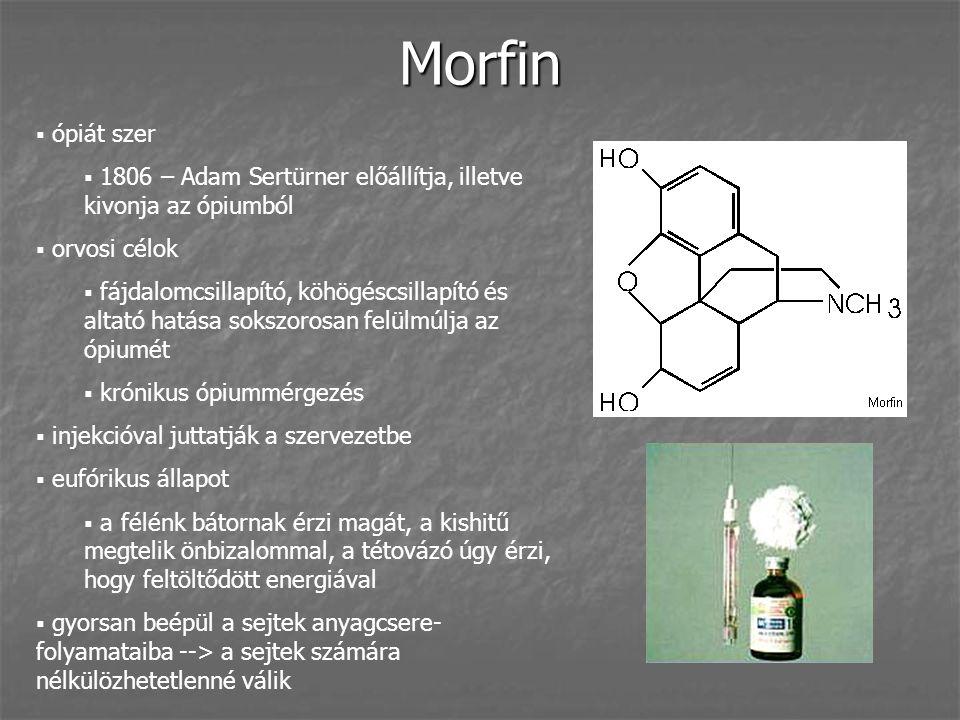 Morfin  ópiát szer  1806 – Adam Sertürner előállítja, illetve kivonja az ópiumból  orvosi célok  fájdalomcsillapító, köhögéscsillapító és altató h