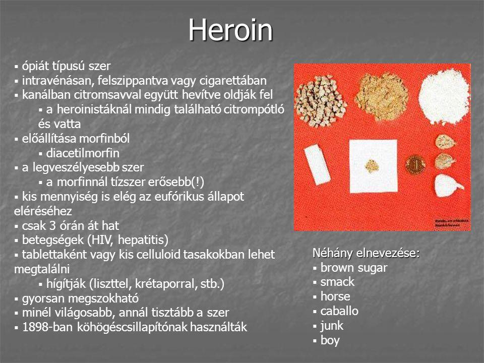 Heroin  ópiát típusú szer  intravénásan, felszippantva vagy cigarettában  kanálban citromsavval együtt hevítve oldják fel  a heroinistáknál mindig