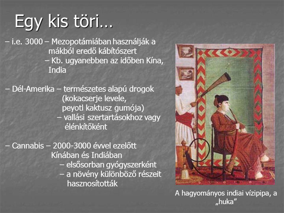 Egy kis töri… – i.e. 3000 – Mezopotámiában használják a mákból eredő kábítószert – Kb. ugyanebben az időben Kína, India – Dél-Amerika – természetes al