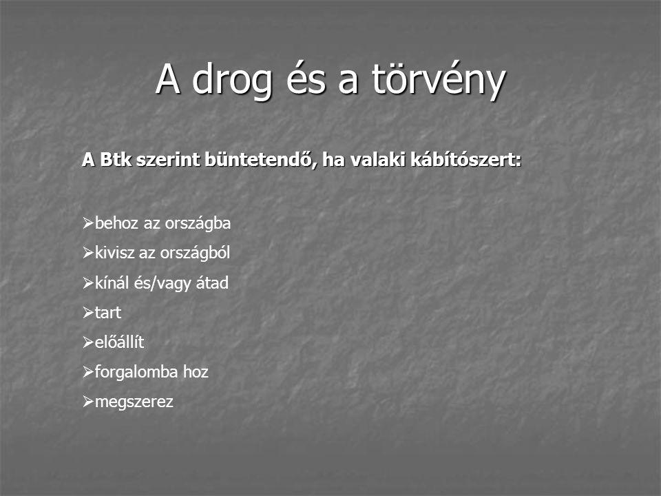 A drog és a törvény A Btk szerint büntetendő, ha valaki kábítószert:  behoz az országba  kivisz az országból  kínál és/vagy átad  tart  előállít