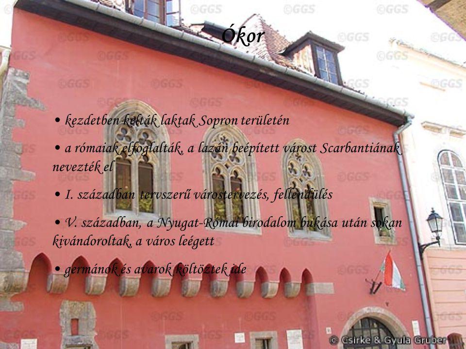 Ókor kezdetben kelták laktak Sopron területén a rómaiak elfoglalták, a lazán beépített várost Scarbantiának nevezték el I.
