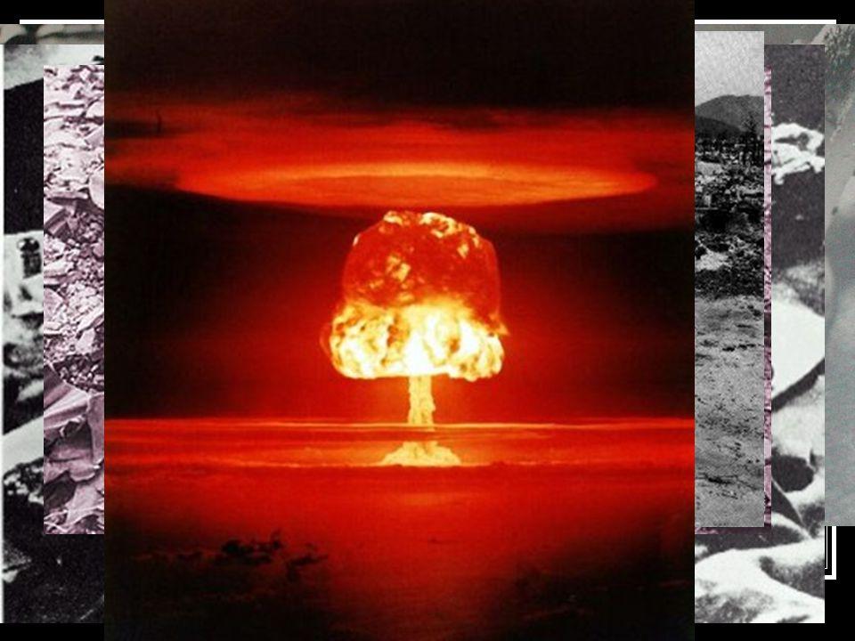 Következmények  Gomba alakú felhő  Lökéshullám (a város 80% romba dőlt)  Hő és fény sugárzás (égési sérülések – fertőzések)  Tűzvihar (1200km/óra)  Radioaktív sugárzás (1km sugarú körben halálos, évek múlva is elbukkan)  Hiroshimában : (1950-re) 200 000 ember  Nagaszakiban: 80 ezer halálos áldozat  A második Világháború vége