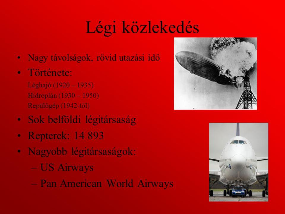 Légi közlekedés Nagy távolságok, rövid utazási idő Története: Léghajó (1920 – 1935) Hidroplán (1930 – 1950) Repülőgép (1942-től) Sok belföldi légitárs