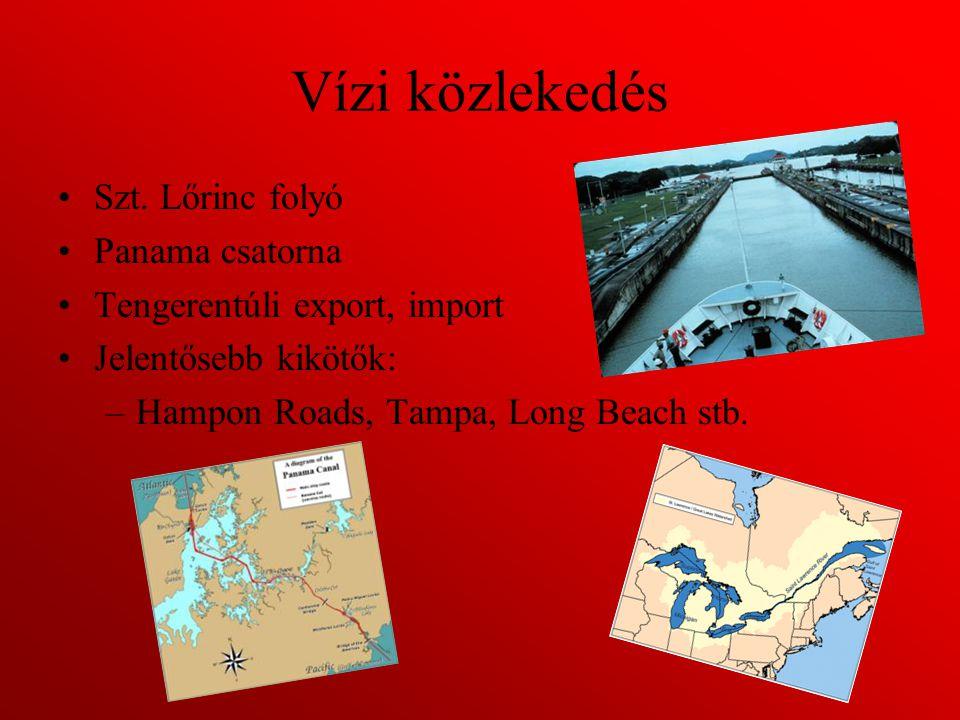 Vízi közlekedés Szt. Lőrinc folyó Panama csatorna Tengerentúli export, import Jelentősebb kikötők: –Hampon Roads, Tampa, Long Beach stb.