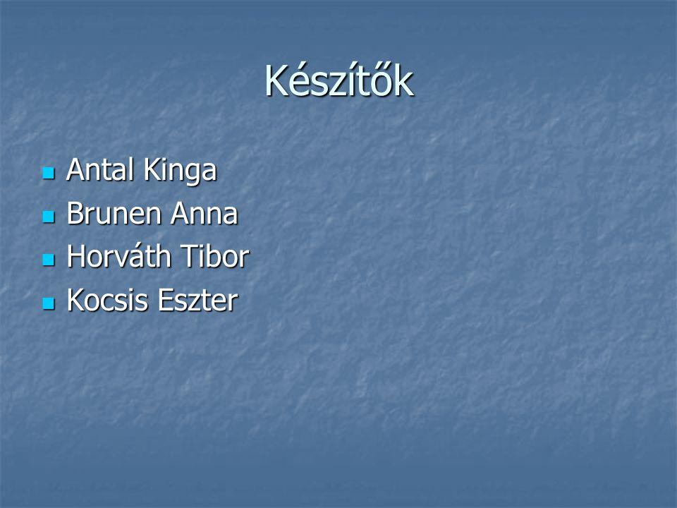 Készítők Antal Kinga Antal Kinga Brunen Anna Brunen Anna Horváth Tibor Horváth Tibor Kocsis Eszter Kocsis Eszter