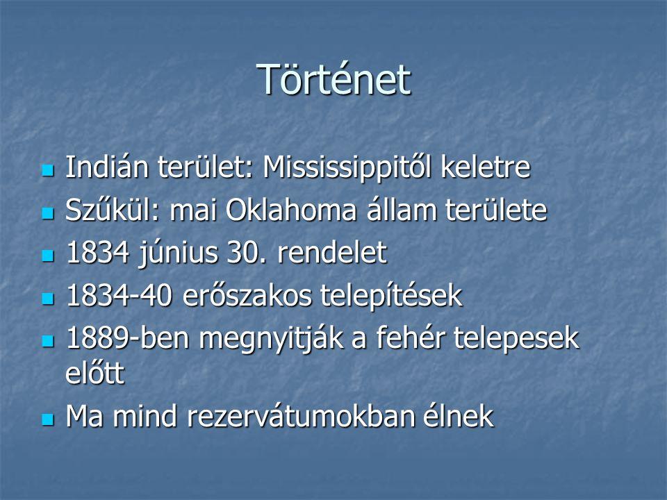 Történet Indián terület: Mississippitől keletre Indián terület: Mississippitől keletre Szűkül: mai Oklahoma állam területe Szűkül: mai Oklahoma állam területe 1834 június 30.