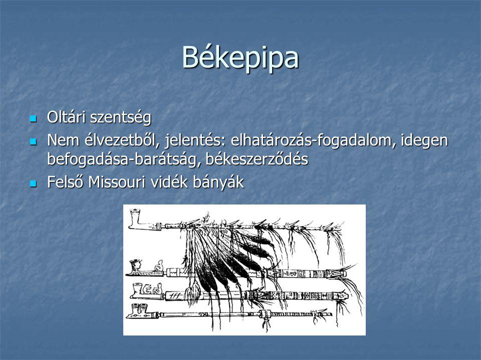 Békepipa Oltári szentség Oltári szentség Nem élvezetből, jelentés: elhatározás-fogadalom, idegen befogadása-barátság, békeszerződés Nem élvezetből, jelentés: elhatározás-fogadalom, idegen befogadása-barátság, békeszerződés Felső Missouri vidék bányák Felső Missouri vidék bányák