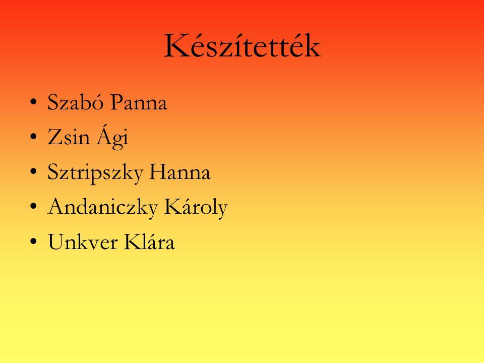 Készítették Szabó Panna Zsin Ági Sztripszky Hanna Andaniczky Károly Unkver Klára