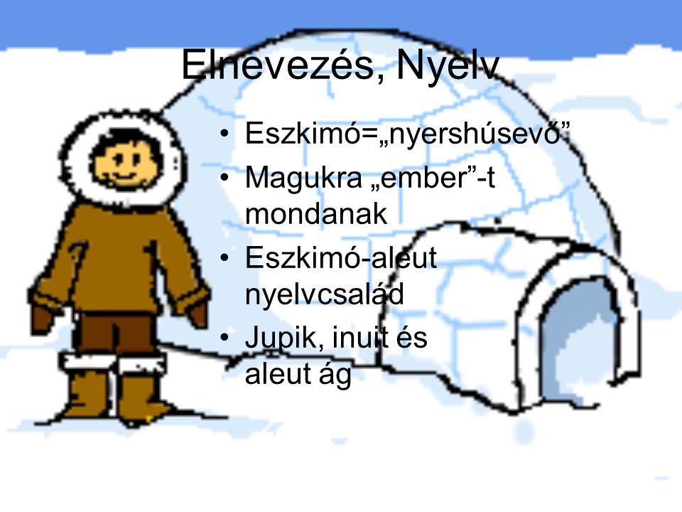 """Elnevezés, Nyelv Eszkimó=""""nyershúsevő Magukra """"ember -t mondanak Eszkimó-aleut nyelvcsalád Jupik, inuit és aleut ág"""