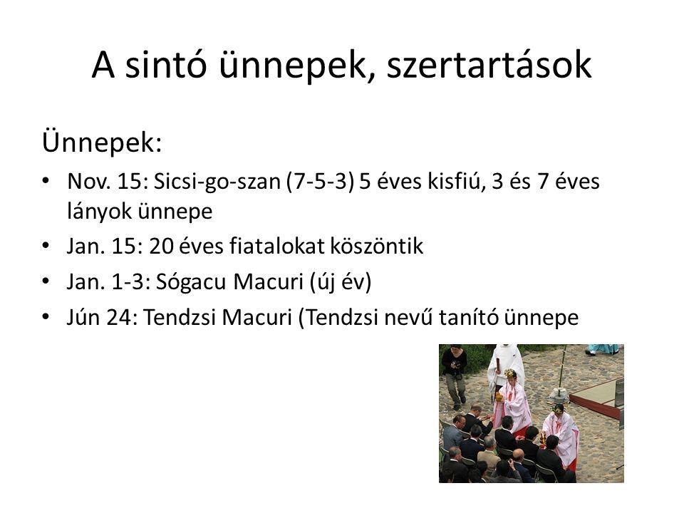 A sintó ünnepek, szertartások Ünnepek: Nov. 15: Sicsi-go-szan (7-5-3) 5 éves kisfiú, 3 és 7 éves lányok ünnepe Jan. 15: 20 éves fiatalokat köszöntik J