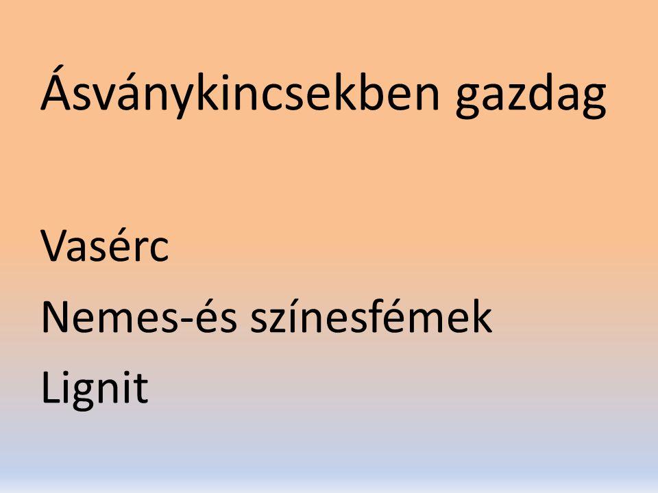 Ásványkincsekben gazdag Vasérc Nemes-és színesfémek Lignit