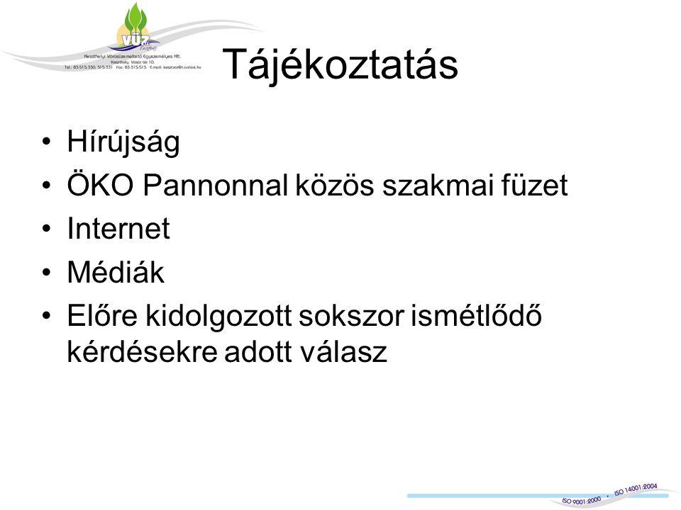 Tájékoztatás Hírújság ÖKO Pannonnal közös szakmai füzet Internet Médiák Előre kidolgozott sokszor ismétlődő kérdésekre adott válasz