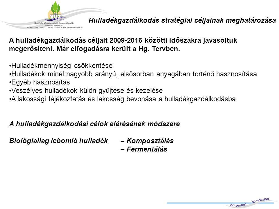 Hulladékgazdálkodás stratégiai céljainak meghatározása A hulladékgazdálkodás céljait 2009-2016 közötti időszakra javasoltuk megerősíteni.