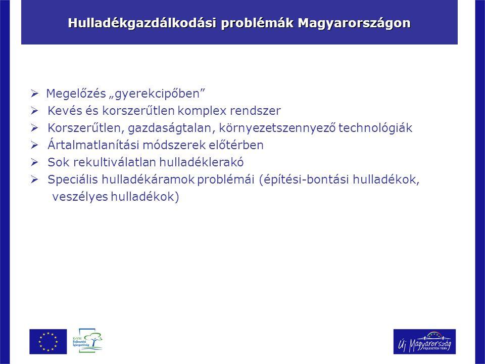 """Hulladékgazdálkodási problémák Magyarországon  Megelőzés """"gyerekcipőben  Kevés és korszerűtlen komplex rendszer  Korszerűtlen, gazdaságtalan, környezetszennyező technológiák  Ártalmatlanítási módszerek előtérben  Sok rekultiválatlan hulladéklerakó  Speciális hulladékáramok problémái (építési-bontási hulladékok, veszélyes hulladékok)"""
