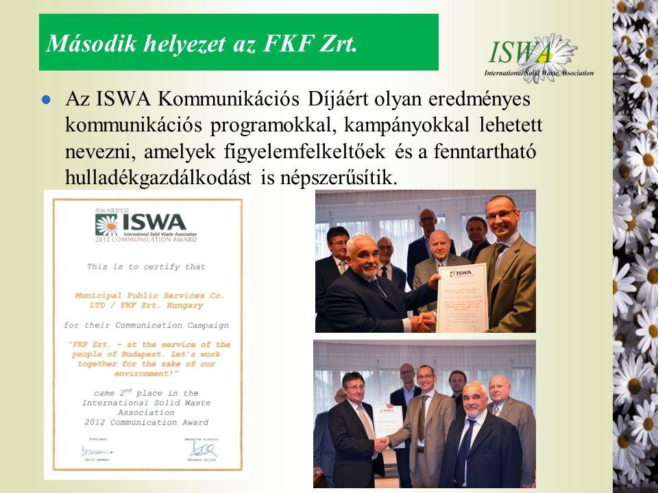 Második helyezet az FKF Zrt. l Az ISWA Kommunikációs Díjáért olyan eredményes kommunikációs programokkal, kampányokkal lehetett nevezni, amelyek figye