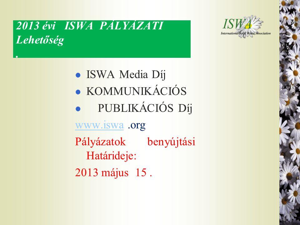 2013 évi ISWA PÁLYÁZATI Lehetőség. l ISWA Media Díj l KOMMUNIKÁCIÓS l PUBLIKÁCIÓS Díj www.iswawww.iswa.org Pályázatok benyújtási Határideje: 2013 máju