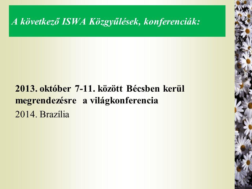 A következő ISWA Közgyűlések, konferenciák: 2013. október 7-11. között Bécsben kerül megrendezésre a világkonferencia 2014. Brazília