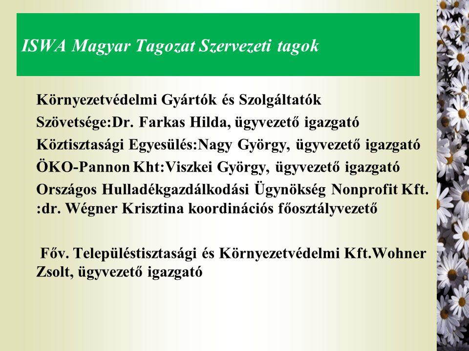 ISWA Magyar Tagozat Szervezeti tagok Környezetvédelmi Gyártók és Szolgáltatók Szövetsége:Dr. Farkas Hilda, ügyvezető igazgató Köztisztasági Egyesülés: