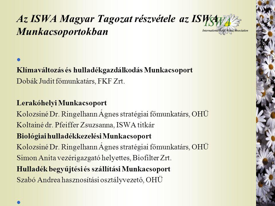 Az ISWA Magyar Tagozat részvétele az ISWA Munkacsoportokban l Klímaváltozás és hulladékgazdálkodás Munkacsoport Dobák Judit főmunkatárs, FKF Zrt. Lera