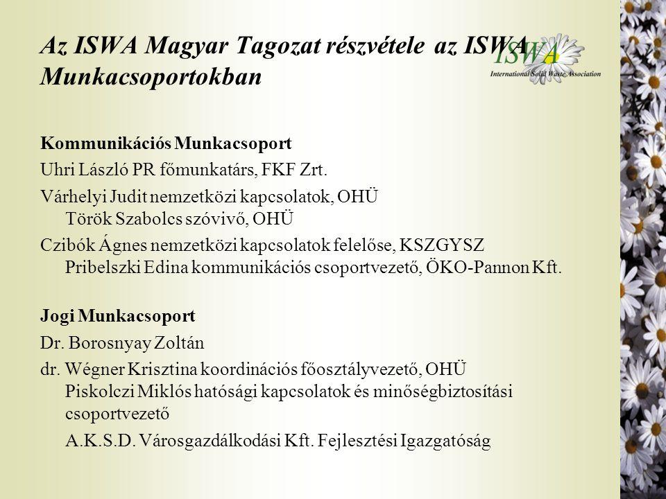 Az ISWA Magyar Tagozat részvétele az ISWA Munkacsoportokban Kommunikációs Munkacsoport Uhri László PR főmunkatárs, FKF Zrt. Várhelyi Judit nemzetközi