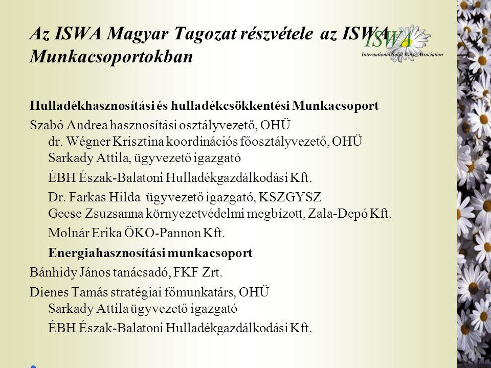 Az ISWA Magyar Tagozat részvétele az ISWA Munkacsoportokban Hulladékhasznosítási és hulladékcsökkentési Munkacsoport Szabó Andrea hasznosítási osztály