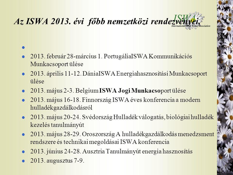 Az ISWA 2013. évi főbb nemzetközi rendezvényei, l l 2013. február 28-március 1. PortugáliaISWA Kommunikációs Munkacsoport ülése l 2013. április 11-12.