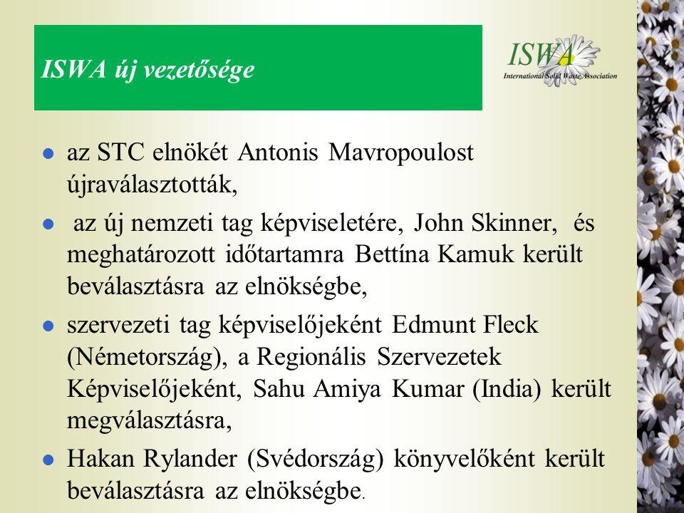 ISWA új vezetősége l az STC elnökét Antonis Mavropoulost újraválasztották, l az új nemzeti tag képviseletére, John Skinner, és meghatározott időtartam