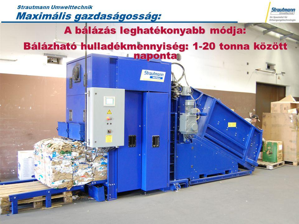 Strautmann Umwelttechnik 19.04.12 2 2 Maximális gazdaságosság: A bálázás leghatékonyabb módja: Bálázható hulladékmennyiség: 1-20 tonna között naponta
