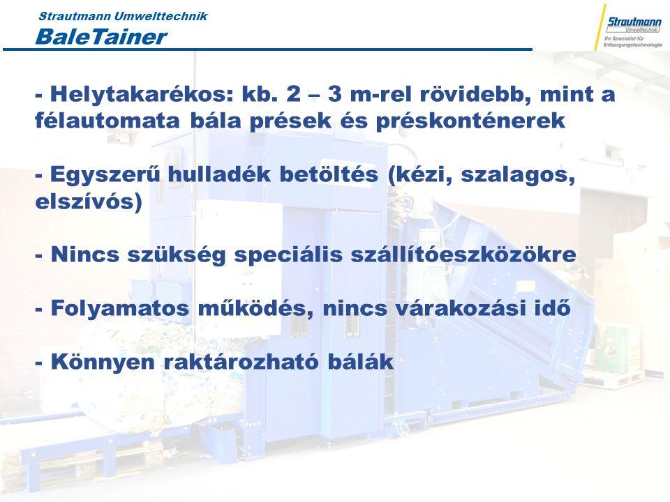 Strautmann Umwelttechnik 19.04.12 5 Összehasonlítás BaleTainer ® -Direkt összeköttetés a gyűjtőponttal - Kompakt szerkezet -Kiegészítő elemekre nincs szükség - Nagy betöltőnyílás - Nincs szükség a kartondobozok összehajtására Munkaerő- és belső logisztikai költségek megtakarítását teszi lehetővé Nagy bála tömeg:PET370 kg Karton: 420 kg 50-85 000 € Konténeres tömörítők - Nagy karton dobozok tömörítése problémás -Nagy helyigény -A konténerbe töltött anyag 1,5 - 3 t között -Nem ellenőrzött a konténerbe kerülő anyagok tömege -Konténereknek cserélési ideje van vagy több konténer szükséges Félautomata bála prések - Nagy helyigényű -Kis bálasűrűség -Nagy energiaigény -Garat +szállítószalag szükséges hozzá 18.000 € 50.000 - 75.000 € plus belt conveyor Csigás prések - Nagy karton dobozok tömörítése problémás -Nagy helyigény - A konténerbe töltött anyag 6 és 8 t közötti -Nem ellenőrzött a konténerbe kerülő anyagok tömege -Konténereknek cserélési ideje van vagy több konténer szükséges 25.000 €