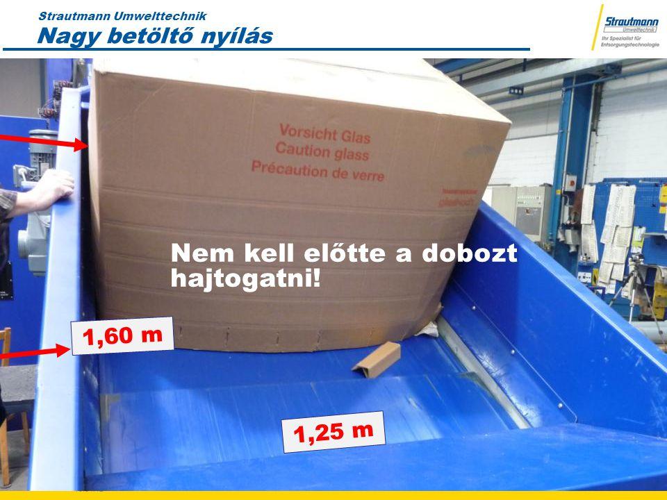 Strautmann Umwelttechnik 19.04.12 8 8 Nagy betöltő nyílás Nem kell előtte a dobozt hajtogatni.