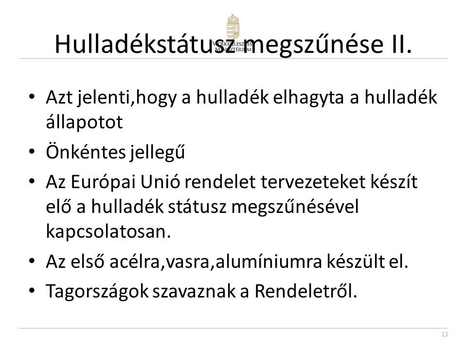 13 Hulladékstátusz megszűnése II. Azt jelenti,hogy a hulladék elhagyta a hulladék állapotot Önkéntes jellegű Az Európai Unió rendelet tervezeteket kés