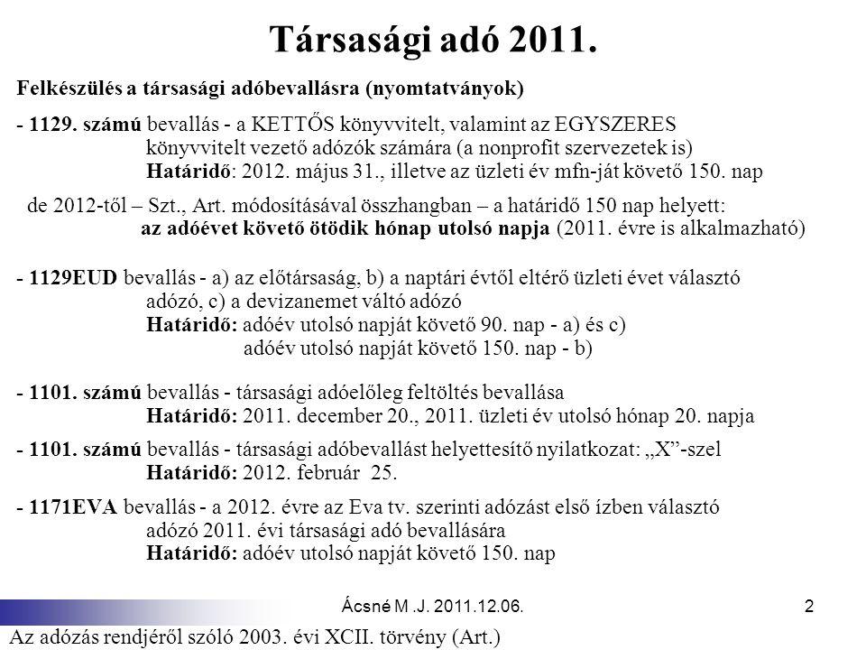 Ácsné M.J.2011.12.06.2 Társasági adó 2011.