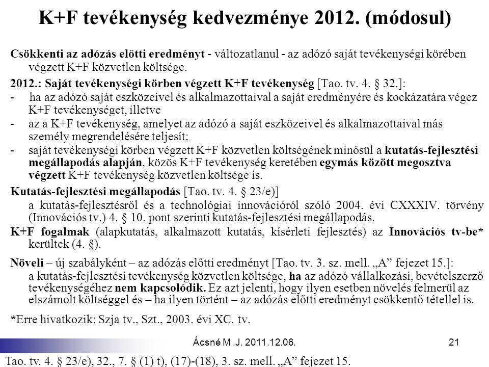 Ácsné M.J.2011.12.06.21 K+F tevékenység kedvezménye 2012.