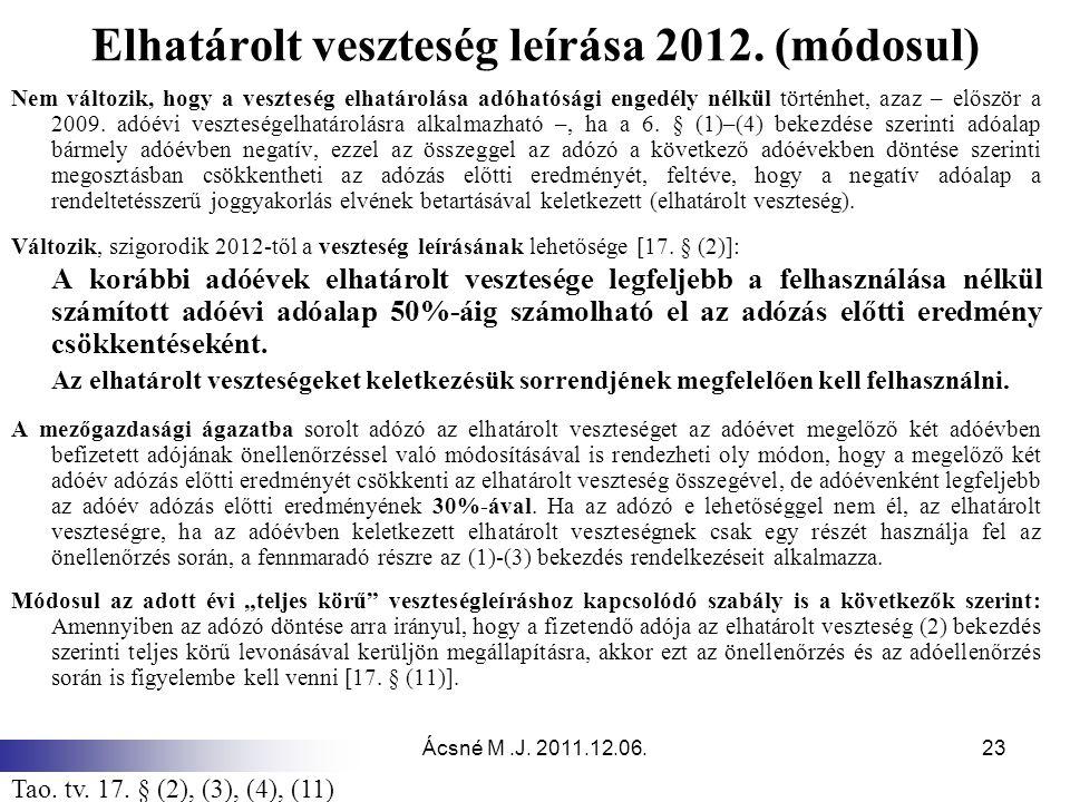 Ácsné M.J.2011.12.06.23 Elhatárolt veszteség leírása 2012.