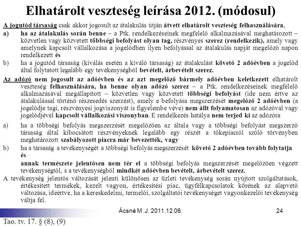 Ácsné M.J.2011.12.06.24 Elhatárolt veszteség leírása 2012.