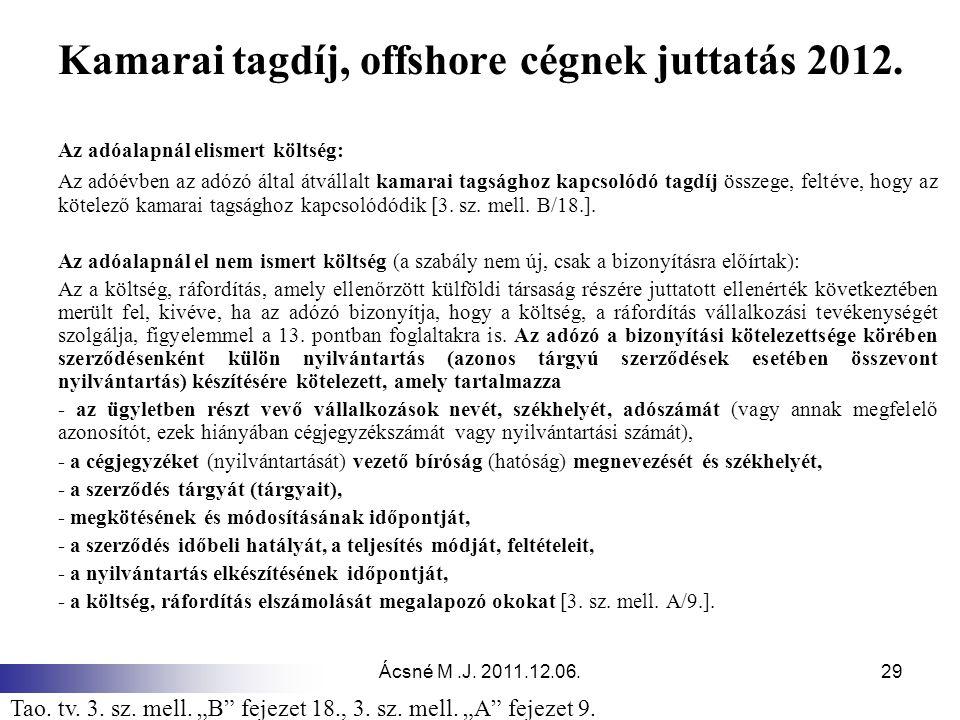 Ácsné M.J.2011.12.06.29 Kamarai tagdíj, offshore cégnek juttatás 2012.