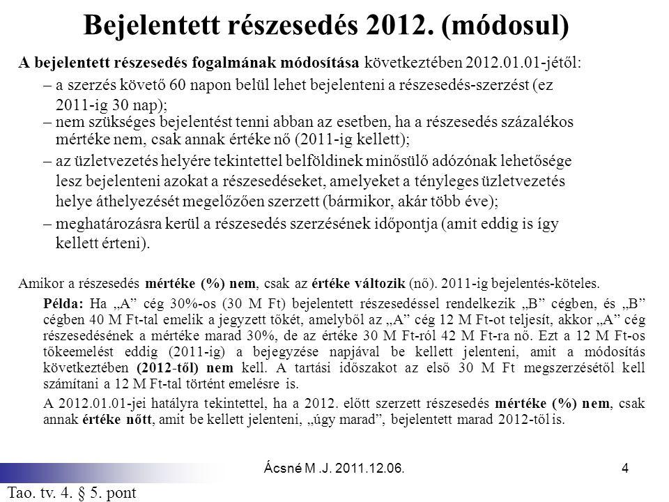 Ácsné M.J.2011.12.06.25 Alultőkésítés 2012. (módosul) Növeli az adózás előtti eredményt [8.