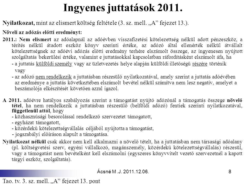 Ácsné M.J.2011.12.06.8 Ingyenes juttatások 2011.