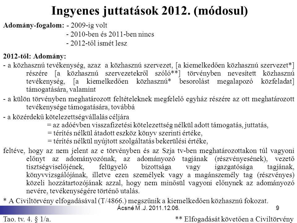 Ácsné M.J.2011.12.06.9 Ingyenes juttatások 2012.