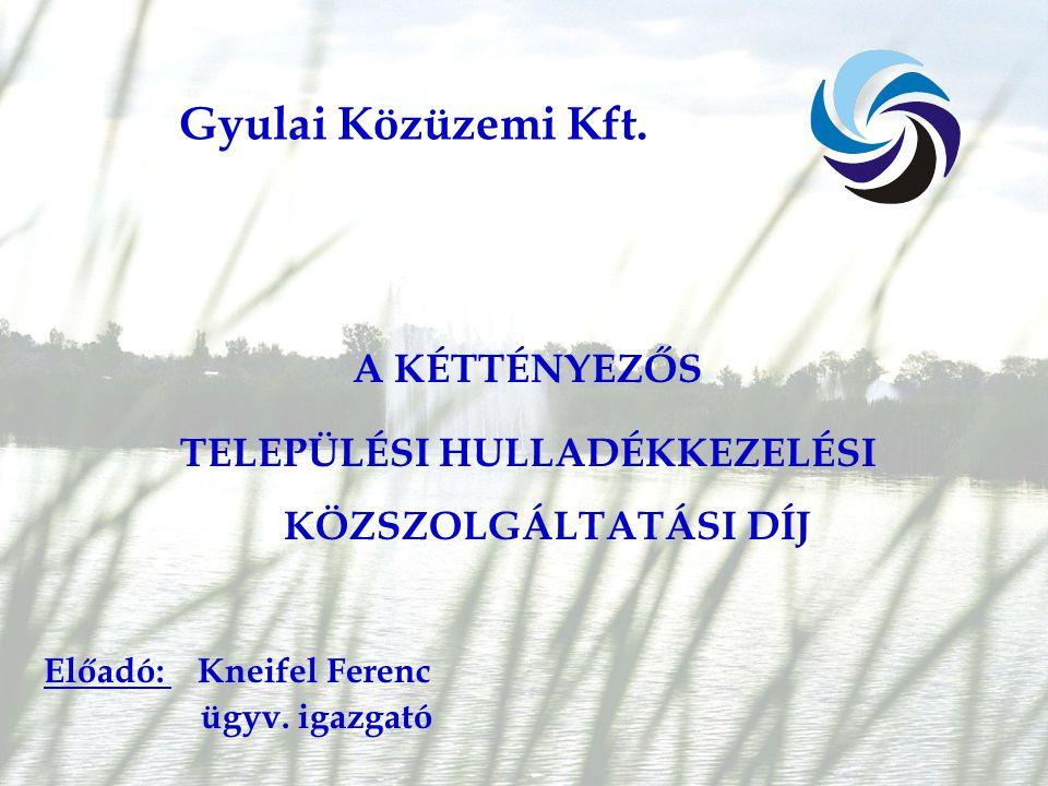 A KÉTTÉNYEZŐS TELEPÜLÉSI HULLADÉKKEZELÉSI KÖZSZOLGÁLTATÁSI DÍJ Előadó: Kneifel Ferenc ügyv.