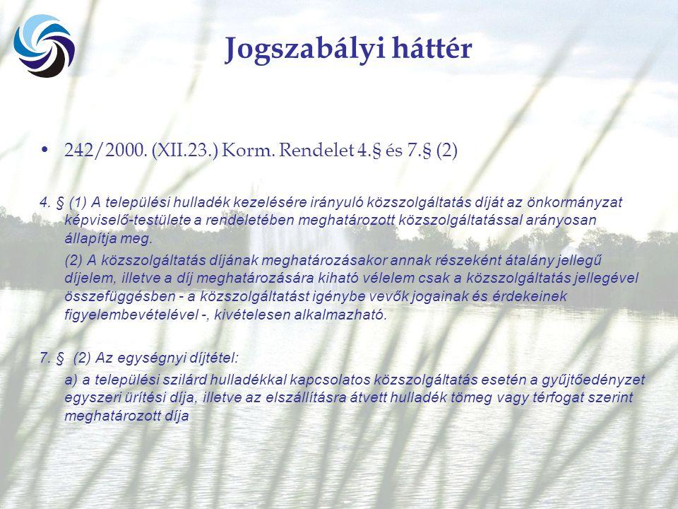 Jogszabályi háttér 242/2000. (XII.23.) Korm. Rendelet 4.§ és 7.§ (2) 4.