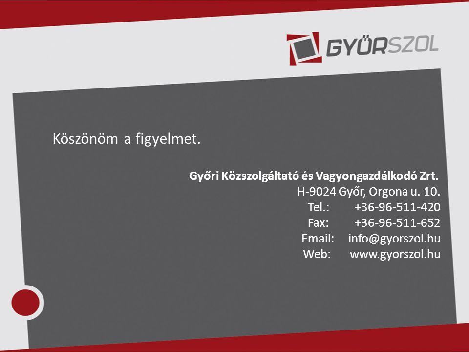 Köszönöm a figyelmet. Győri Közszolgáltató és Vagyongazdálkodó Zrt. H-9024 Győr, Orgona u. 10. Tel.: +36-96-511-420 Fax:+36-96-511-652 Email:info@gyor